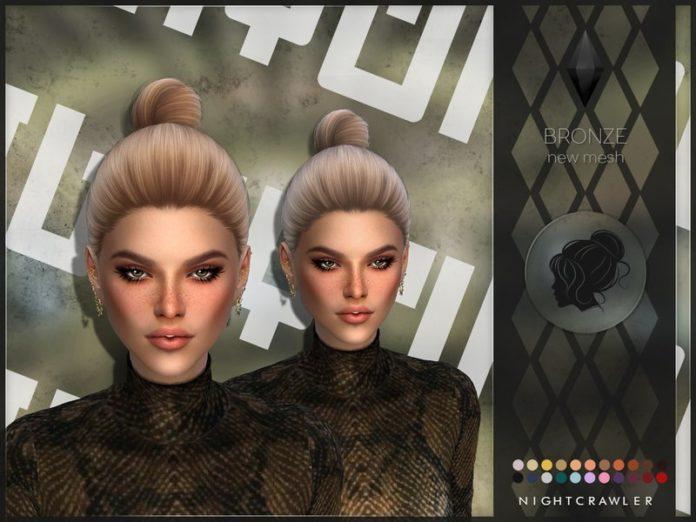 Высокий пучок от Nightcrawler Sims для Sims 4