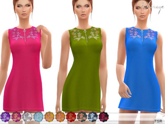 Летнее платье с вышивкой от ekinege для Sims 4