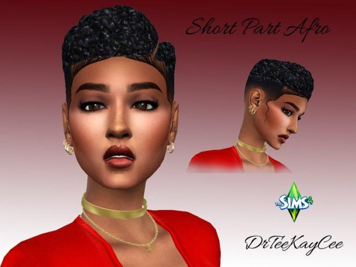 Короткое афро с пробором от drteekaycee для SIms 4