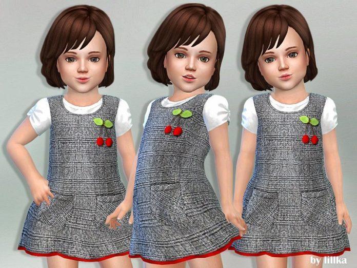 Детское платье с вишенками от lillka для Sims 4