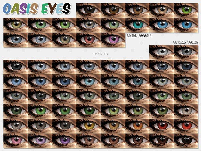 "Набор глаз ""Оазис"" от Pralinesims для Sims 4"