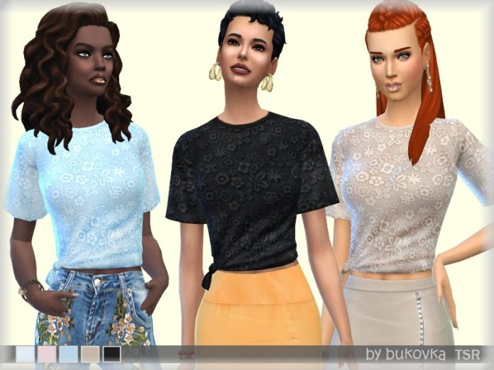 Кружевная футболка от bukovka для Sims 4