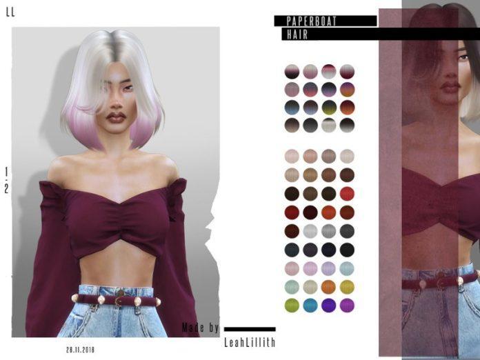 Женское удлиненное каре от Leah Lillith для Sims 4