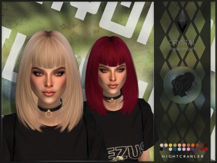 Женская прическа Crystal от Nightcrawler для Sims 4