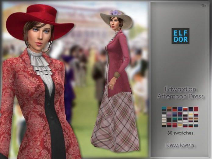 Эдвардианское повседневное платье от Elfdor для Sims 4