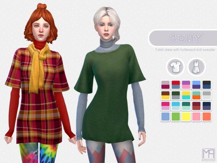 Женская футболка со свитером от nueajaa для Sims 4