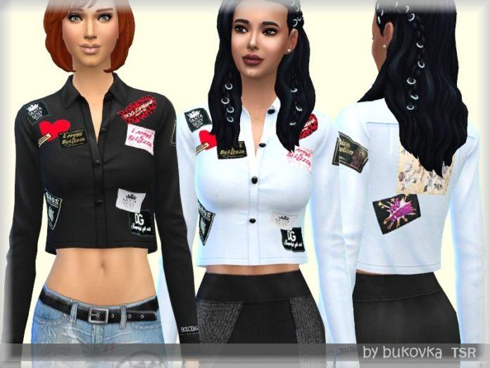 Женская рубашка с нашивками от bukovka для Sims 4