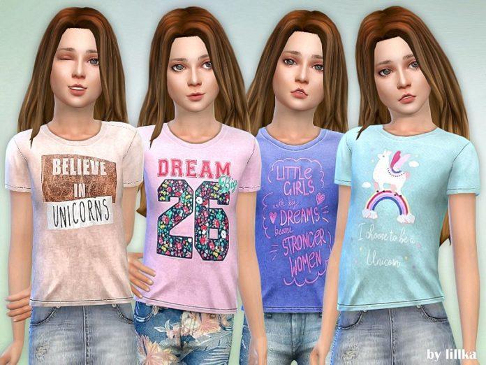 Футболка для девочки от lillka для Sims 4
