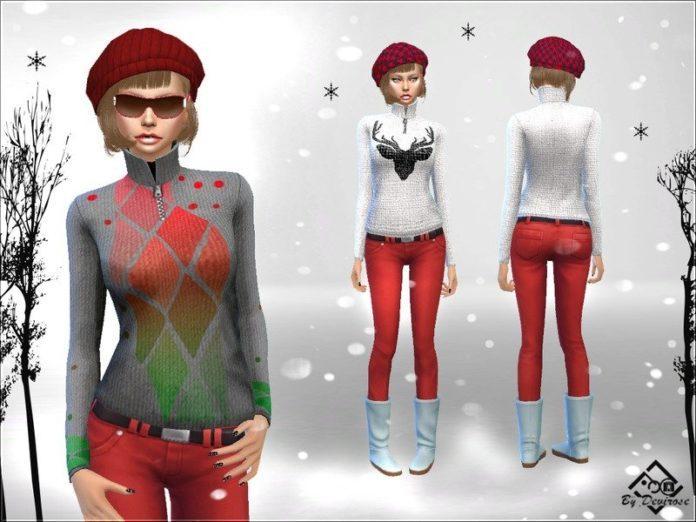 Зимний женский свитер от Devirose для Sims 4
