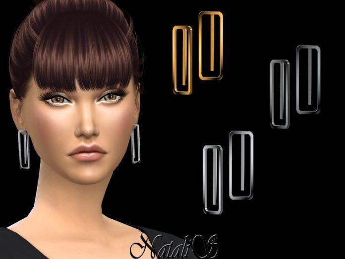 Прямоугольные серьги от NataliS для Sims 4