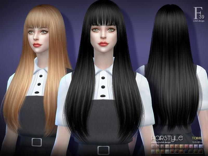 Женская прическа Tomie от S-Club для Sims 4