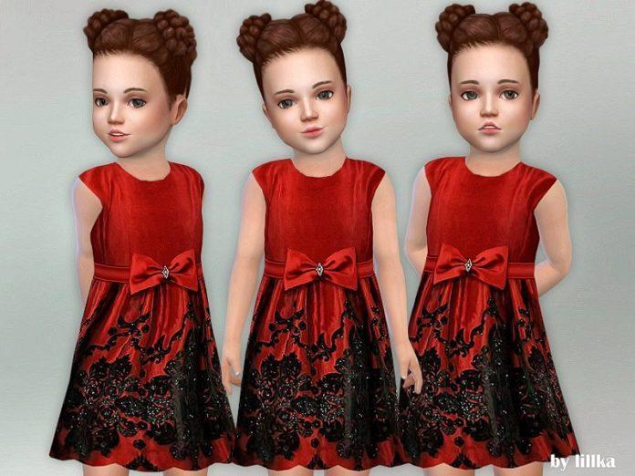 Красное платье с большим бантом от lillka для Sims 4