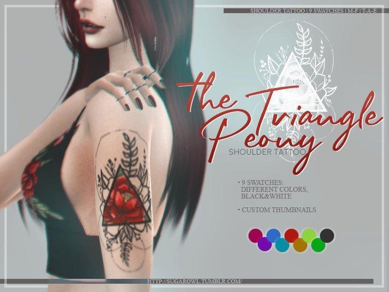 Татуировка на плечо Пион от sugar owlдля Sims 4