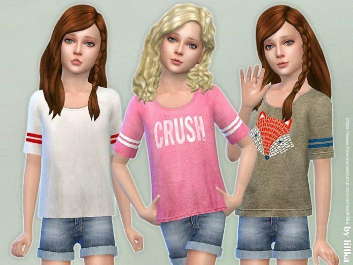 Спортивная футболка для девочки от lillka для Sims 4