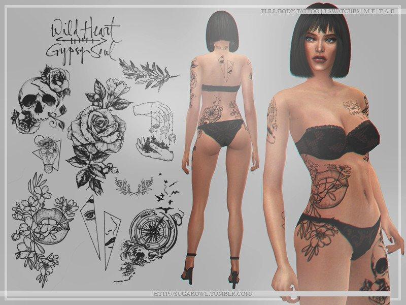 Набор татуировок Wild heart от sugar owl для Sims 4