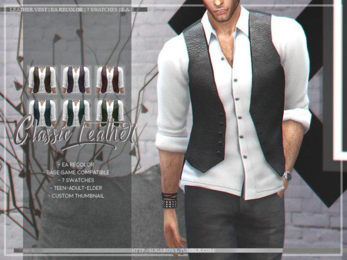 Рубашка с кожаной жилеткой от sugar owl для Sims 4