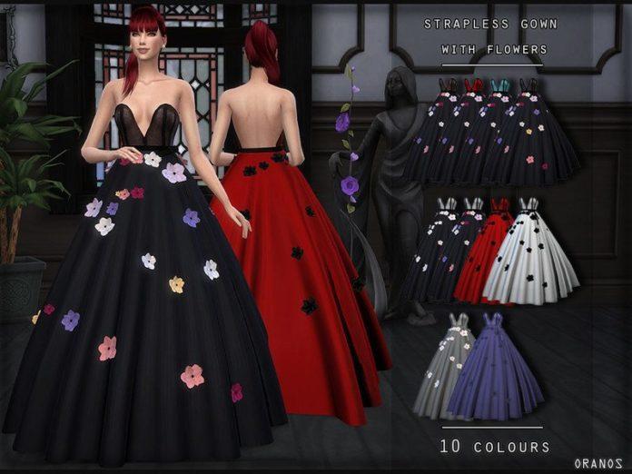 Пышное вечернее платье с цветками от OranosTR для Sims 4