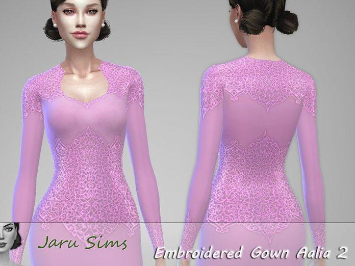 Вечернее платье с блестящим кружевом Aalia от Jaru Sims для Sims 4