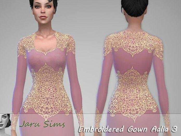 Вечернее платье с кружевом Aalia от Jaru Sims для Sims 4