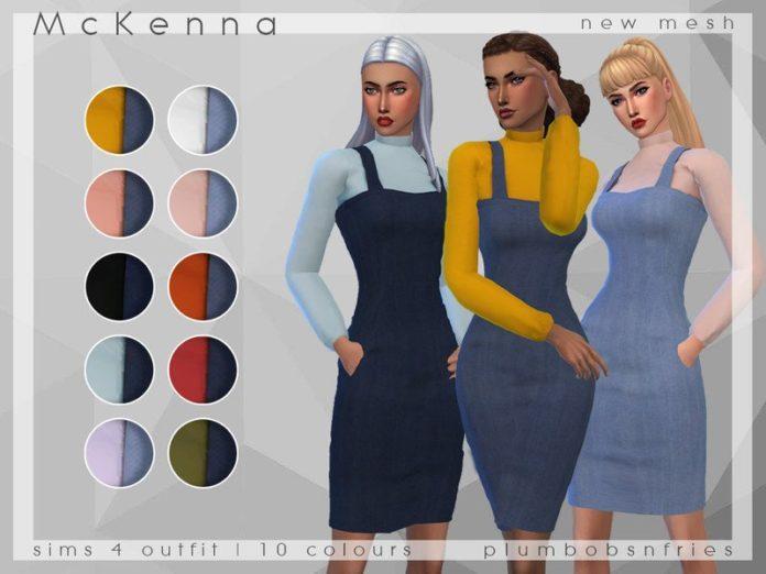 Платье с джемпером McKenna от Plumbobs n Fries для Sims 4