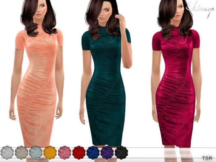 Бархатное платье от ekinege для Sims 4