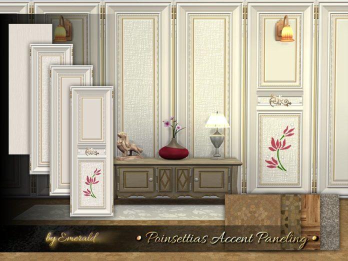 Стенные панели с цветком от emerald для Sims 4