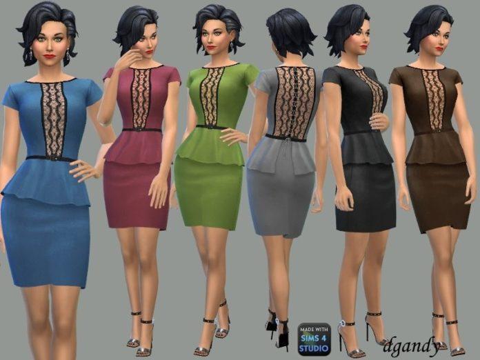 Платье с кружевными вставками от dgandy для Sims 4