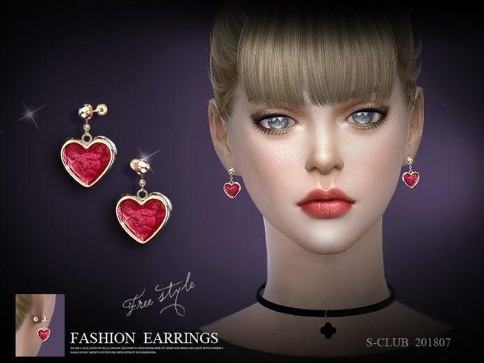 Серьги в форме сердечек от S-Club для Sims 4