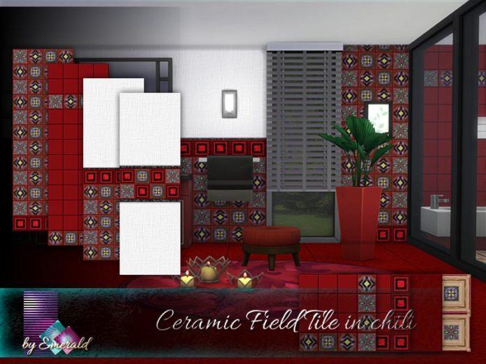 Красная плитка от emerald для Sims 4