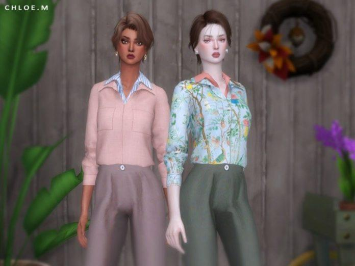Блузка с двойным воротом от ChloeMMM для Sims 4