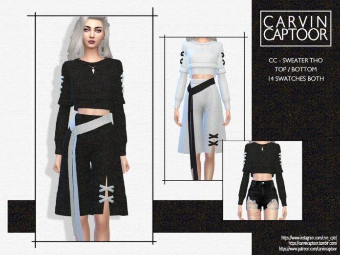 Короткий свитер от carvin captoor для Sims 4
