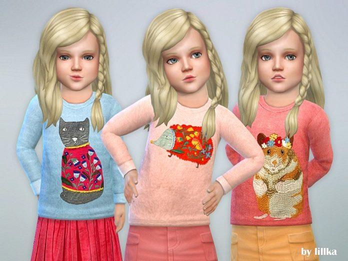Детский свитер с рисунком от lillka для Sims 4