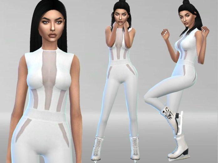 Белый комбинезон для катания на коньках от Puresim для Sims 4