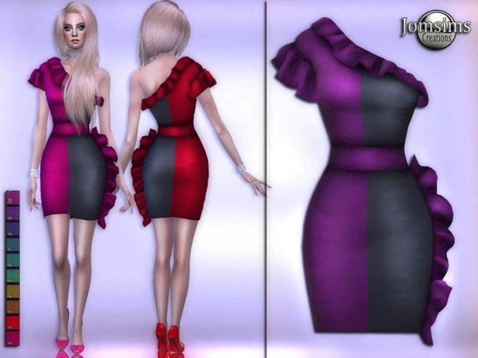 Двухцветное платье с воланами от jomsims для Sims 4