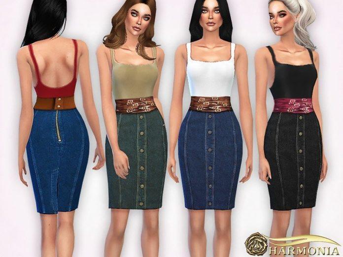 Джинсовая юбка-карандаш и майка от Harmonia для Sims 4