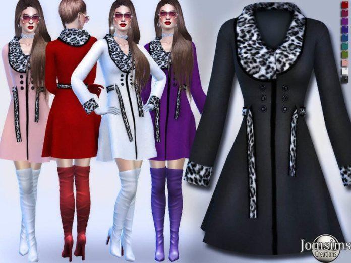 Пальто с леопардовыми вставками от jomsims Sims 4