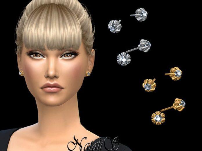 Бриллиантовые серьги-гвоздики от NataliS для Sims 4
