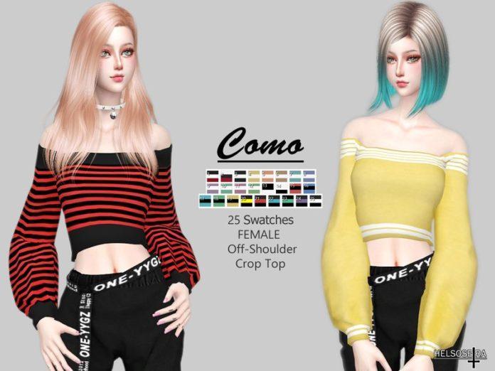 Короткий женский свитер от Helsoseira для Sims 4