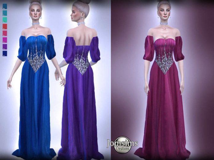 Вечернее платье Stellinie от jomsims для Sims 4