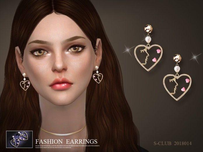 Серьги в форме сердца от S-Club для Sims 4
