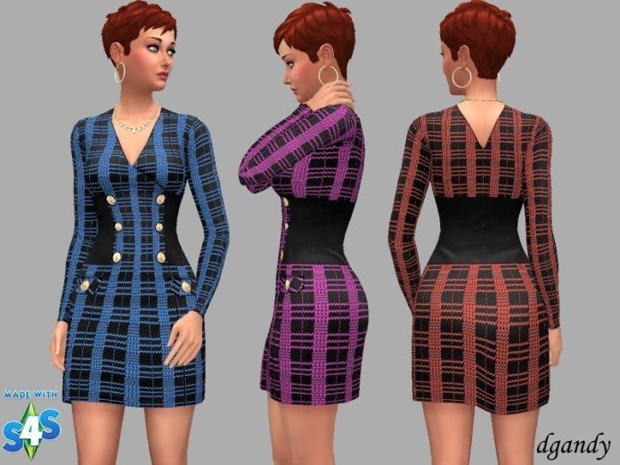 Платье в крупную клетку от dgandy для Sims 4