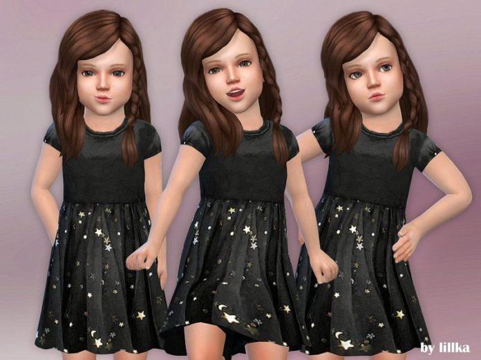 Черное платье со звездочками для малышей от lillka для Sims 4