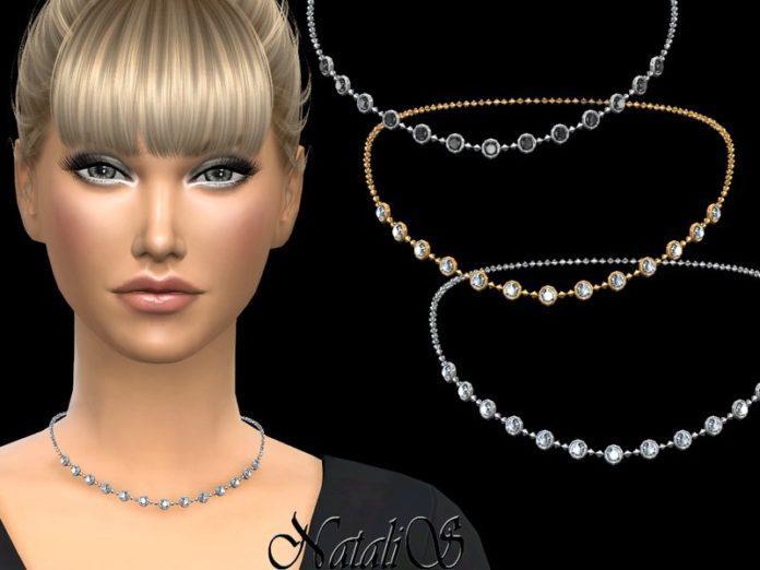 Колье с маленькими круглыми кристаллами от NataliS для Sims 4