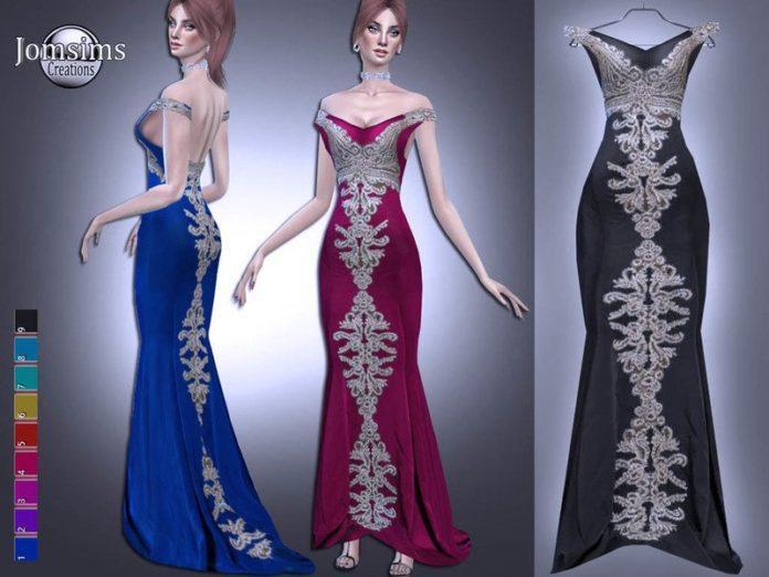 Вечернее платье Radelane от jomsims для Sims 4