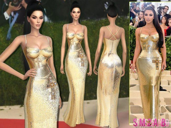 Платье Ким Кардашьян для Met Gala 2018 от sims2fanbg для Sims 4