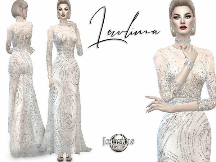 Белое вечернее платье с блестками от jomsims для Sims 4