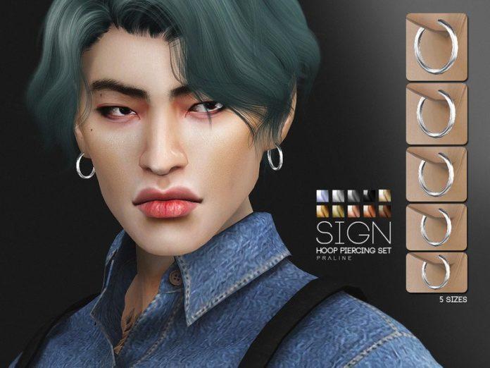 Серьги-кольца разных размеров от Pralinesims для Sims 4