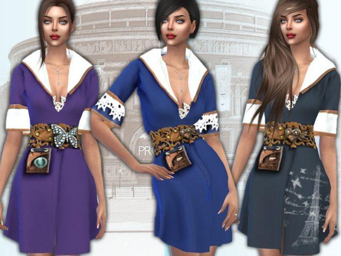 Ретро платье с широким поясом от Sims House для Sims 4