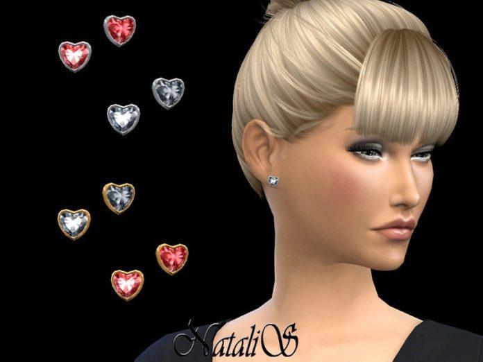 Серьги в форме сердечка от NataliS для Sims 4