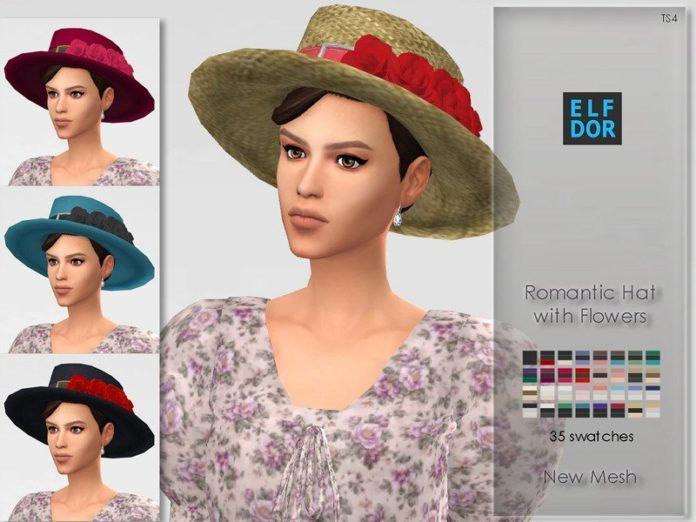 Романтичная шляпка от Elfdor для Sims 4